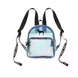 Pink VS Mini Backpack Clear Holographic Glitter